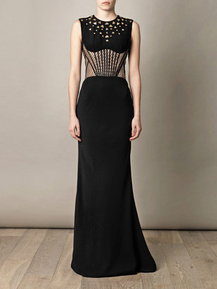 Alexander McQueen Bee embellished fish-tail gown