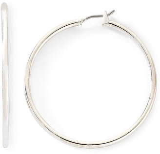 MONET JEWELRY Monet Silver-Tone Thin Large Hoop Earrings $20 thestylecure.com