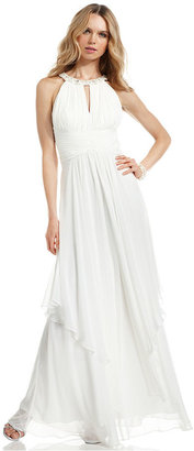 Eliza J Dress, Sleeveless Pleated Tiered Gown