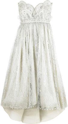 Marchesa Strapless embroidered dress