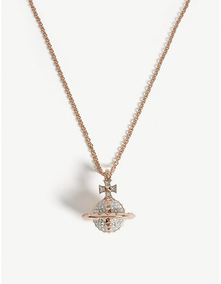 Vivienne Westwood Crystal, Pink Gold and Rhodium Orb Design Mayfair Pendant Necklace, Size: 44cm