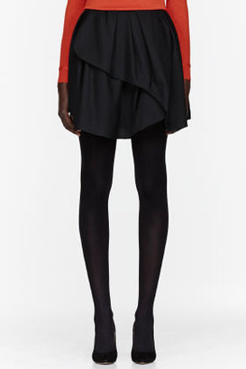 Carven Black asymmetric pleated Wool Skirt