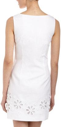 Laundry by Shelli Segal Daisy Cutout Linen Sheath Dress, Optic White