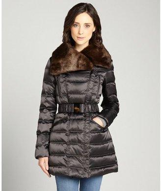 Laundry by Shelli Segal caviar grey down filled faux fur collar three quarter length coat