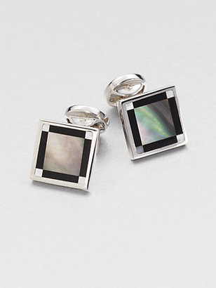 Saks Fifth Avenue Collection Onyx & Mother-of-Pearl Cuff Links