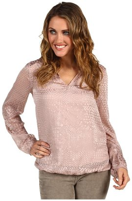 Calvin Klein Jeans L/S Cinched Bottom Burnout Top w/ Knit Cami (Frosted Lilac) - Apparel