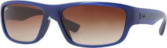 Ray-Ban Rectangular Full-Rim Sunglasses, Blue/Brown