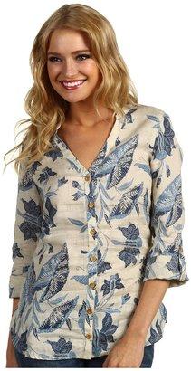Lucky Brand Polynesian Floral Tunic Top (Blue Multi) - Apparel