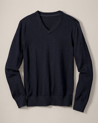 Eddie Bauer Classic Fit Cotton/Cashmere V-Neck Sweater