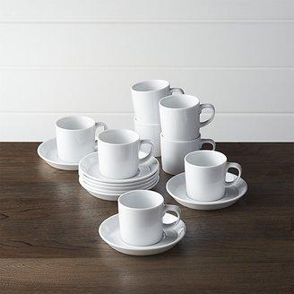 Crate & Barrel Set of 8 Verge 4 oz. Espresso Cups and Saucers