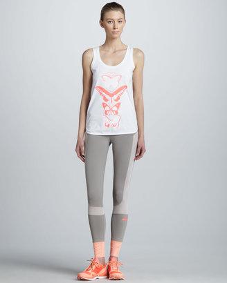 adidas by Stella McCartney Colorblock Running Leggings, Orange/Gray