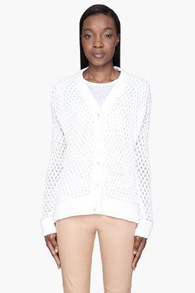 Maison Martin Margiela White double-Knit mesh Cardigan