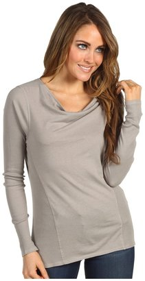 Calvin Klein Jeans L/S Mixed Knit Fabric w/ Drapey Neck (Platinum Ice) - Apparel