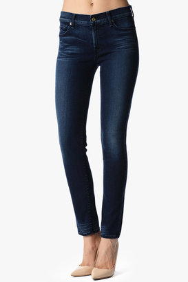7 For All Mankind The Mid Rise Slim Illusion Slim Cigarette In Deep Midnight Blue