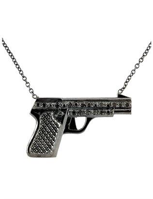 Campise Black Diamond Black Rhodium Gun Necklace