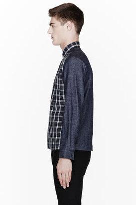 Neil Barrett Navy Plaid Denim-Sleeved Dress Shirt