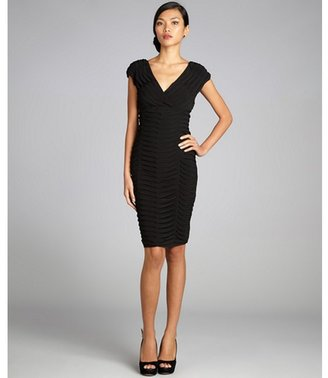 Adrianna Papell black tiered stretch jersey cap sleeve v-neck dress
