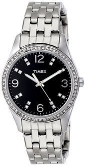Timex Women's T2P387 Silver-Tone Bracelet Watch with Swarovski Crystals $89.95 thestylecure.com