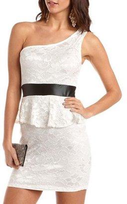 Charlotte Russe PU Trim One Shoulder Lace Dress