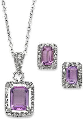 Townsend Victoria Sterling Silver Jewelry Set, Emerald-Cut Amethyst (2-3/4 ct. t.w.) and Diamond Accent Necklace and Earrings
