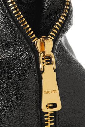 Miu Miu Madras textured-leather tote
