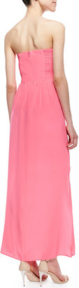 Amanda Uprichard Mimosa Strapless Pleated Maxi Dress, Pink Ribbon