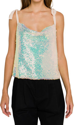 Endless Rose Orora Sequined Ribbon-Strap Tank Top