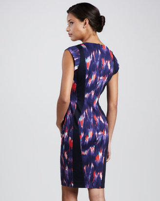 French Connection Watercolor-Print Fitted Dress