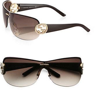 Gucci Oversized Round Crystal GG Shield Sunglasses