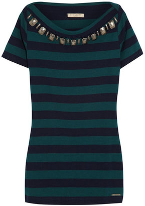 Burberry Embellished striped cotton-jersey top