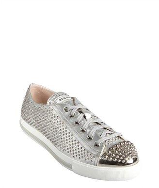 Miu Miu Metallic Silver Crystal Embellished Lace-Up Sneakers