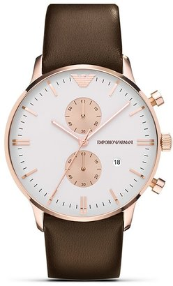 Emporio Armani Two Tone Brown Leather Strap Watch, 43mm