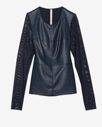 Bailey 44 Exclusive Leather-like Mesh Sleeve Tee: Navy