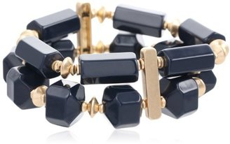 "Kenneth Cole New York ""Modern Status"" Geometric Bead Two-Row Stretch Bracelet, 7.5"""