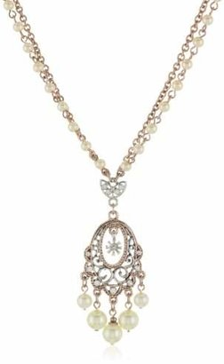 1928 Jewelry Pink Champagne Ornate Chandelier Pendant Necklace