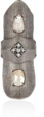 Loree Rodkin 18-karat rhodium white gold diamond bondage ring