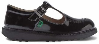Kickers Black T-Bar Patent School Shoes