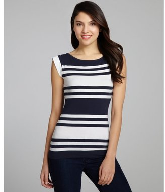 French Connection navy and white striped cotton blend top