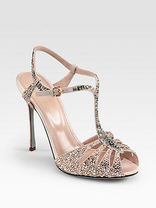 Sergio Rossi Crystal-Coated Satin T-Strap Sandals