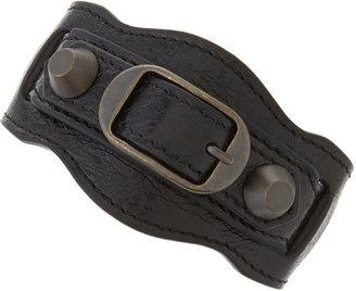 Balenciaga Classic Leather Single Strap Bracelet, Black
