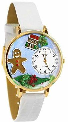 Whimsical Watches Unisex G1220004 Christmas Gingerbread White Leather Watch