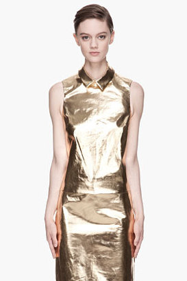 SIMONE ROCHA Metallic Gold Sleeveless Blouse