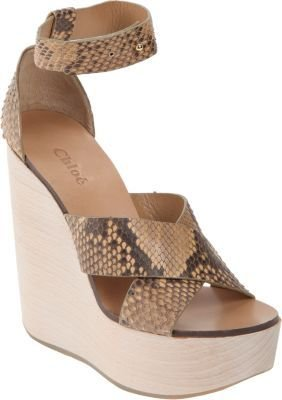 Chloé Python Criss-Cross Platform Wedge
