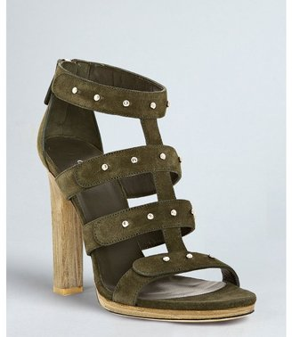 Gucci dark green suede studded 'Sigourney' platform sandals