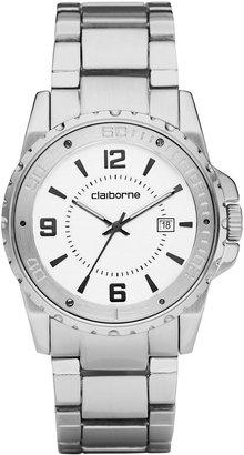 Claiborne Mens Silver-Tone Easy Reader Watch