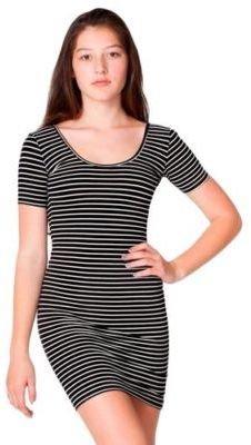 American Apparel RSA8340S Stripe Cotton Spandex Jersey Double U-Neck Dress