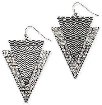 JCPenney Silver-Tone Double-Arrow Drop Earrings