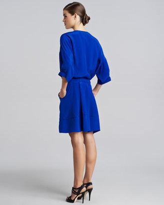 Derek Lam Button-Front Silk Dress, Sapphire