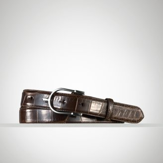 Ralph Lauren Purple Label Alligator Spur-Buckle Belt