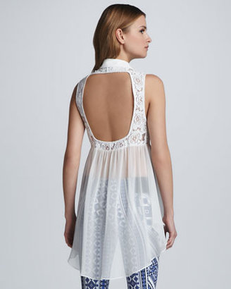 Pencey Sheer Open Back Lace Tunic
